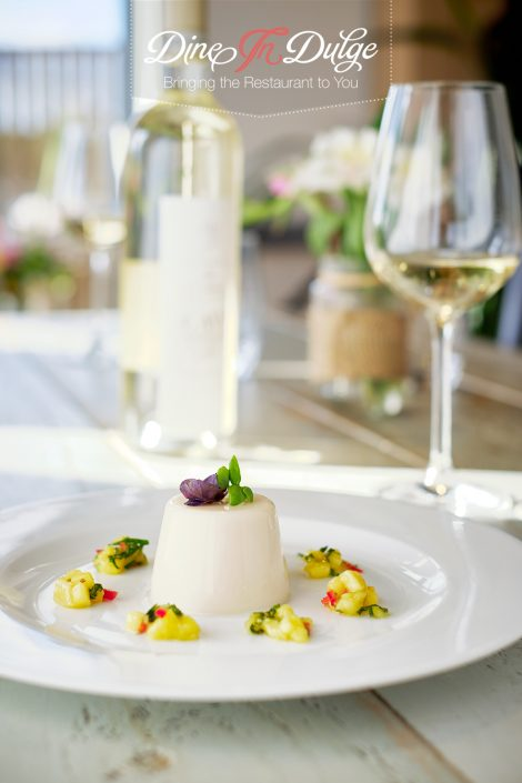 Thai Basil Panna Cotta with Mango Salsa – Private Chef Menu Gallery