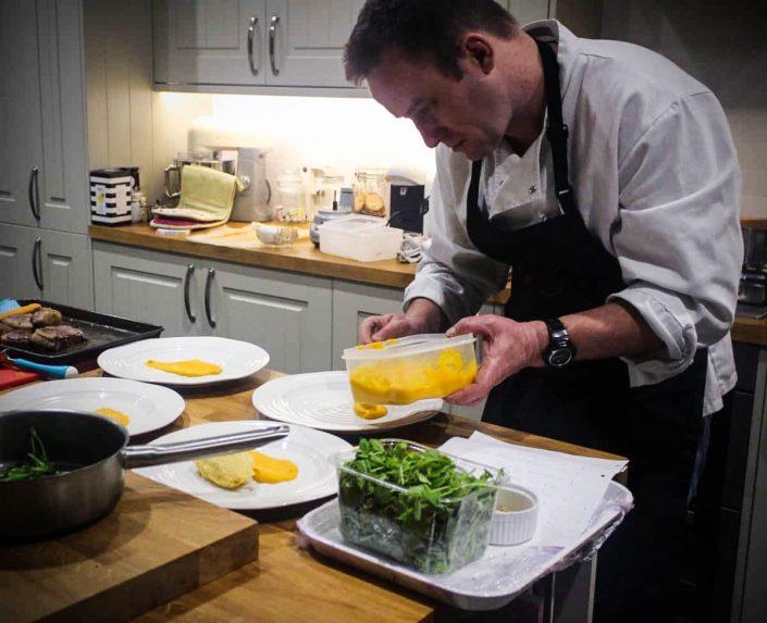 personal chef preparing